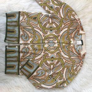J. Crew sage paisley wool cardigan sweater S